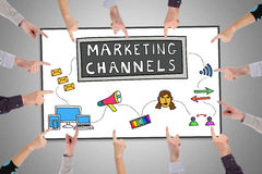 Marketing channels concept on a whiteboard Royalty Free Stock Photos