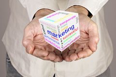 Marketing communication world cube Stock Images