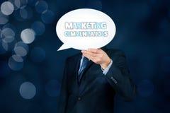 Marketing communications concept. Marketing specialist with marketing communications text on speech bubble royalty free stock photography