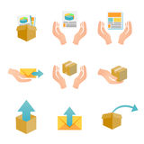 Marketing Company Digital Products Icons. With Collateral and Packing Box Stock Images