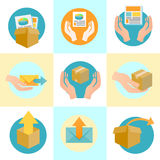 Marketing Company Digital Products Icons. With Collateral and Packing Boxes Royalty Free Stock Image