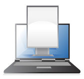 Marketing concept ad stand on laptop Stock Image