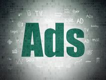 Marketing concept: Ads on Digital Data Paper background. Marketing concept: Painted green text Ads on Digital Data Paper background with Hand Drawn Marketing royalty free stock images
