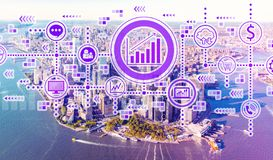 Marketing concept with aerial view of Manhattan stock photo