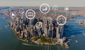 Marketing concept with aerial view of Manhattan. NY skyline stock photos