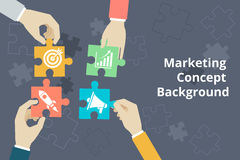 Marketing concept background in flat style Royalty Free Stock Photo