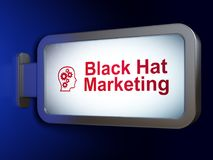 Marketing concept: Black Hat Marketing and Head With Gears on billboard background Stock Photos