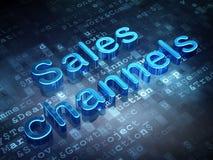 Marketing concept: Blue Sales Channels on digital background. 3d render stock image