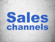 Marketing concept: Sales Channels on wall background Stock Photos