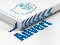 Marketing concept: boekhoofd met Financiënsymbool, Advertentie op witte achtergrond Royalty-vrije Stock Foto