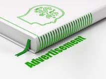 Marketing concept: boekhoofd met Financiënsymbool, Reclame op witte achtergrond Royalty-vrije Stock Afbeelding