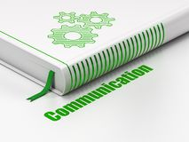 Marketing concept: book Gears, Communication on white background. Marketing concept: closed book with Green Gears icon and text Communication on floor, white Stock Images