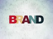 Marketing concept: Brand on Digital Data Paper background. Marketing concept: Painted multicolor text Brand on Digital Data Paper background royalty free stock photography