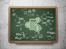 Marketing concept: Calculator on School Board Royalty Free Stock Image