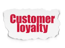 Marketing concept: Customer Loyalty on Torn Paper background. Marketing concept: Painted red text Customer Loyalty on Torn Paper background with Tag Cloud royalty free illustration