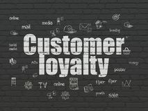 Marketing concept: Customer Loyalty on wall background. Marketing concept: Painted white text Customer Loyalty on Black Brick wall background with  Hand Drawn Royalty Free Stock Photos