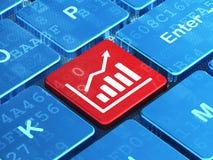 Marketing concept: De groeigrafiek op de achtergrond van het computertoetsenbord Stock Afbeelding