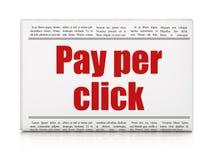 Marketing concept: de krantenkrantekop betaalt per Klik Stock Afbeeldingen