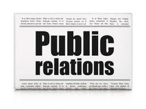 Marketing concept: de Public relations van de krantenkrantekop Stock Fotografie