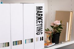Marketing concept. document folders and organizers stock photos