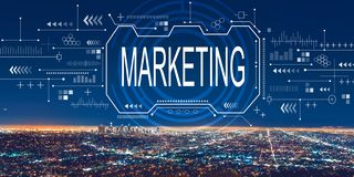 Marketing concept with downtown Los Angeles. At night royalty free stock photos