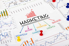 Marketing concept with financial graph Stock Photography