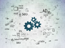 Marketing concept: Gears on digital background Royalty Free Stock Images