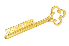 Marketing concept with golden key, 3D rendering. Marketing concept with golden key, 3D Royalty Free Stock Photography