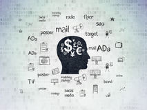 Marketing concept: Head With Finance Symbol on Digital Data Paper background Royalty Free Stock Image