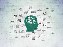 Marketing concept: Head With Finance Symbol on Stock Photo