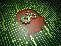 Marketing concept: Head With Gears on circuit. Marketing concept: circuit board with Head With Gears icon, 3d render Stock Images
