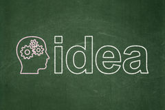 Marketing concept: Head With Gears and Idea on chalkboard background Stock Photos