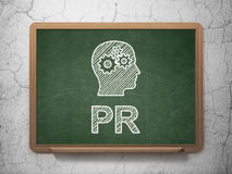 Marketing concept: Head With Gears and PR on Royalty Free Stock Photos
