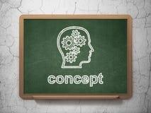 Marketing concept: Hoofd met Toestellen en Concept op bordachtergrond Royalty-vrije Stock Fotografie