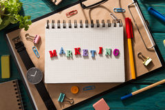 Marketing concept - inscription  on the desk Stock Images