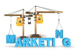 The marketing concept with letters lifted by crane royalty free illustration