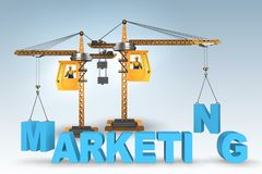 The marketing concept with letters lifted by crane vector illustration