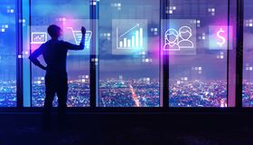 Marketing concept with man by large windows at night vector illustration