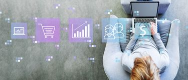 Marketing concept with man using a laptop stock illustration