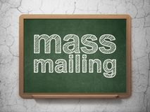 Marketing concept: Mass Mailing on chalkboard background. Marketing concept: text Mass Mailing on Green chalkboard on grunge wall background, 3D rendering Royalty Free Stock Image