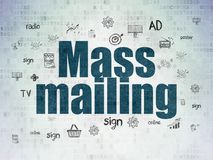 Marketing concept: Mass Mailing on Digital Data Paper background. Marketing concept: Painted blue text Mass Mailing on Digital Data Paper background with Hand royalty free illustration