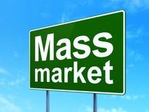 Marketing concept: Mass Market on road sign background. Marketing concept: Mass Market on green road highway sign, clear blue sky background, 3D rendering vector illustration