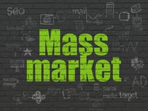 Marketing concept: Mass Market on wall background. Marketing concept: Painted green text Mass Market on Black Brick wall background with Scheme Of Hand Drawn royalty free illustration