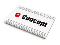 Marketing concept: newspaper with Concept and Head. Marketing concept: newspaper headline Concept and Head With Light Bulb icon on White background, 3d render Royalty Free Stock Images