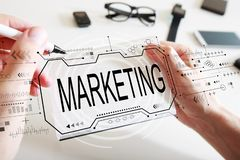 Marketing concept with a notebook stock photography