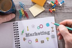 Marketing concept on a notepad. Marketing concept drawn on a notepad placed on a desk royalty free stock photography