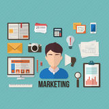 Marketing concept with objects and devices Royalty Free Stock Photos