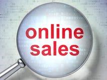 Marketing concept: Online Sales with optical glass. Marketing concept: magnifying optical glass with words Online Sales on digital background, 3d render stock image