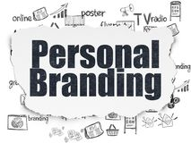 Marketing concept: Personal Branding on Torn Paper background. Marketing concept: Painted black text Personal Branding on Torn Paper background with Hand Drawn stock illustration