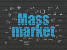 Marketing concept: Mass Market on wall background. Marketing concept: Painted blue text Mass Market on Black Brick wall background with Hand Drawn Marketing vector illustration